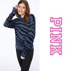 PINK REVERSIBLE V CREW SWEATER in Blue Zebra